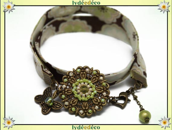 Retro bracelet Pastel print green brown liberty flower White Pearl lime Butterfly bronze Japanese glass