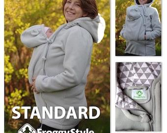 Basic babywearing coat, standard kangaroo hoodie, baby carrier jacket, fleece baby wearing maternity coat - dove gray, plus size