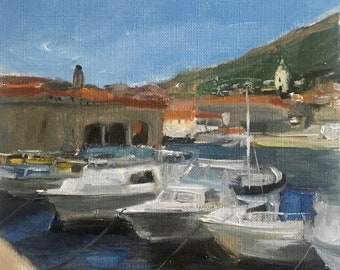 Original painting, oil painting, wall art, wall decor, seascape, Dubrovnik, port, boats painting