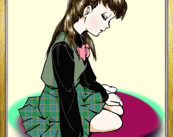 Original digital soft use hand drawn illustration schoolgirl