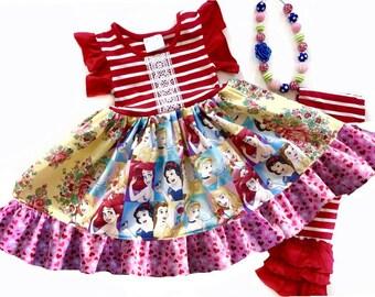 Disney Princess Snow White Ariel Little Mermaid Rapunzel Aurora Belle dress girls toddler birthday party dress Momi boutique custom dress