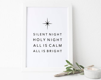 Christmas Printable Art, Silent Night Print, Modern Christmas, MidCentury Holiday Art, Christmas Song Print, All is Calm all is Bright Print