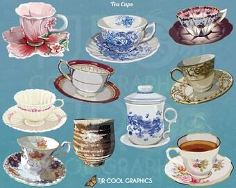 Tea Cups Digital Realistic Clip Art, PNG, Printable, Commercial, Sake, Chamomile, Earl Grey, British, English