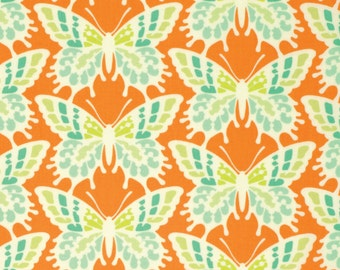 Heather Bailey Fabric by the Yard - Clementine - Flutterby in Tangerine - Quilter's Cotton