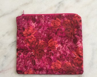 Orange, red and pink roses Cosmetic Pouch