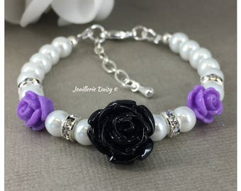 Flower Girl Gift for Flower Girl Bracelet Purple and Black Flower Girl Jewelry  Pearl Bracelet Jewelry Charm Bracelet Wedding Jewelry