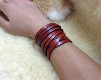 Aged leather wrap bracelet/cuff - rustic leather bracelet - brown wrap - black wrap - Boho bracelet - by A9 Design