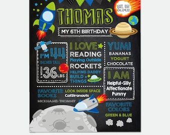 Space Chalkboard Sign, Rocket Ship Birthday Board, Any Age, Personalized Digital Board