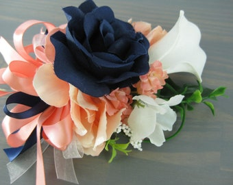 Rose Hydrangea Navy Coral Wedding Prom Corsage Real Touch White Calla Lily
