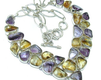 Ametrine, , Citrine Sterling Silver Necklace - weight 67.30g - dim 1 1 4 inch - code 12-sty-16-54