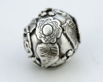 Botanical Handmade Sterling Silver Bead Hand Sculpted woodland faerie bead