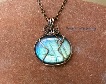 Wire Wrapped Labradorite Necklace Wire Wrap Blue Labradorite Pendant One Of A Kind Handmade Boho Hippie Artisan Jewelry
