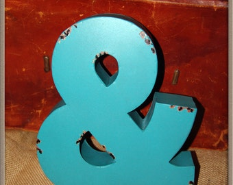 Teal Ampersand & Metal Letter,vintage,rustic,wedding,photo booth,engagement,home decor,photo collage wall,office,dorm,channel letter