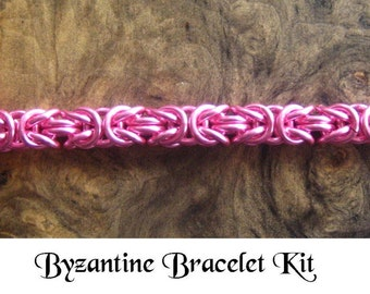 Chainmaille Bracelet Kit -- Pink Byzantine Weave Breast Cancer Awareness