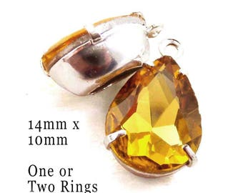 Golden topaz glass beads - 14x10 rhinestone teardrops for earrings or pendants - one pair yellow glass gems in silver or brass settings
