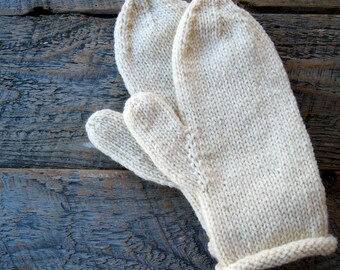 Wool mittens - white