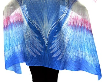 Gift of Love & Comfort. Blue Angel Wings Scarf, Sarong, Headwrap, Boho Shawl, Mardi Gras, Festival Scarf, Bridesmaid Gift, Feathers scarf