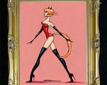 Catwoman Art Print, Boudoir Bedroom Decor, Gift for Her/Him, Femme Fatale, Goth Punk Art, Bdsm Fetish, Naughty Artwork, Black Widow, SHANO