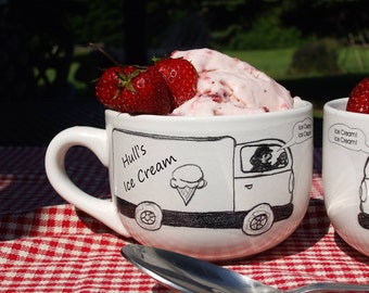 Personalized Ice Cream Ice Cream Man bowls with handles (set of 2)