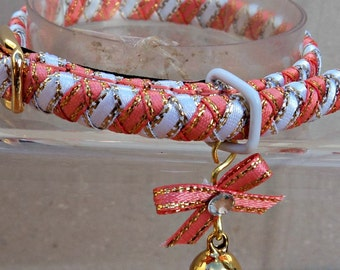 Small Kitten Collar Coral Pink and White Striped Ribbon.