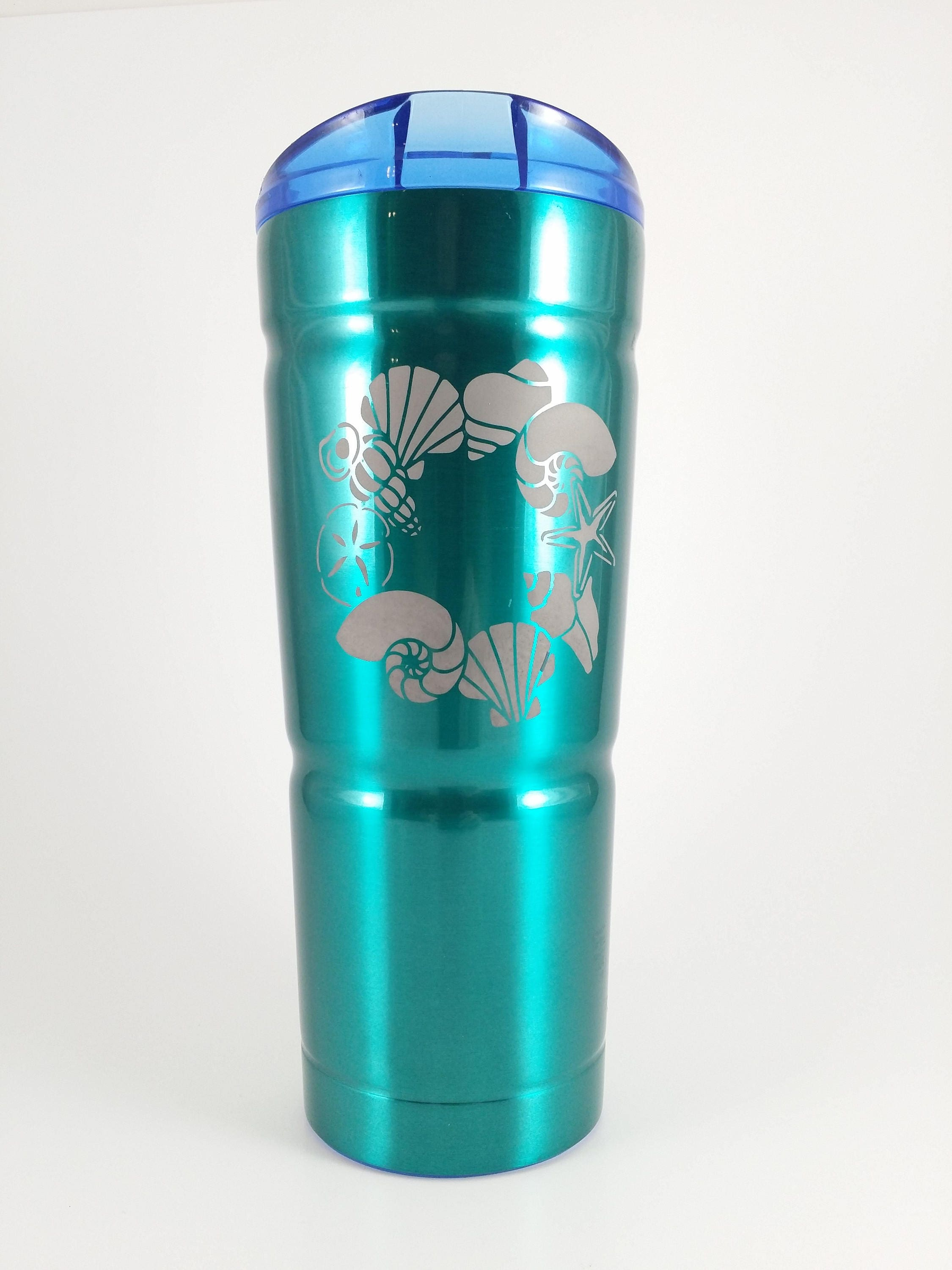 24oz Bubba Tumbler W Sand Etched Sea Shell Design Teal # Bubba Muebles Infantiles