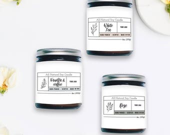 Candle Label Template, Custom Label Design, Product Packaging, Photoshop Template, INSTANT DOWNLOAD!
