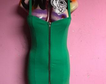 Small womens mini dress emerald green with centered zipper stretchy spandex retro mod punk 90s goth skirt mini sm s