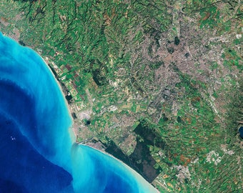 Instant Downloadable Satellite Image of Rome, the capital of Italy and the Mediterranean Sea - Elements of this image furnished by ESA