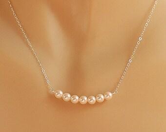 Collier de perles, mariée Pearl perle Ivoire Swarovski collier, cadeau de bijoux de demoiselle d'honneur, en argent massif, petit collier en perles procession