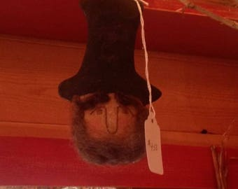 3 pc. Primitive Abraham Lincoln Ornament Doll