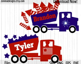 4th of july svg - dump truck svg - silhouette files types. .DXF .SVG, .PNG Silhouette studio - cutting file - commercial use svg