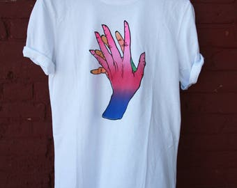 Original artwork on Small t-shirt, screenprinting, silkscreen, serigraphy