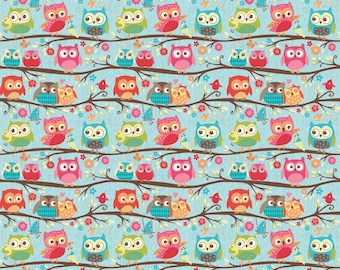 Happy Flappers by Riley Blake, Flappers Owls on Blue, LAST 52 Inches