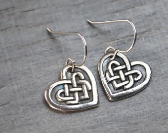 Silver Heart Earrings - Celtic Knot Heart - Sterling Silver Ear Wires - Handcrafted Jewelry Metalwork