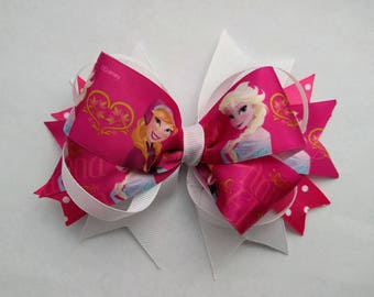 """Frozen 6"""" large hair bow, winter hair bow, hot pink hair bow, white hair bow, boutique bow, large girls hair bow, hair accessories- big bow"""