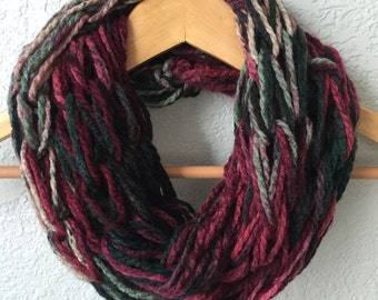 Arm Knitted Scarf, Infinity Scarf