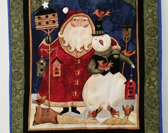 Santa with Snowman Friend Wallhanging