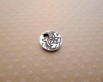 Round silver plated pendant pure silver 12 mm antique - BAV 1393