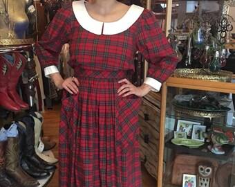 Vintage Eilleen West Dress, Schoolgirl Plaid Green and Red, Cotton Dress