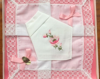"2 New Vintage Boxed ""St Patrick"" Irish Cotton Handkerchiefs Embroidered with Pink Flowers (Happy to Personalise)"
