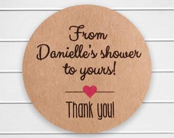Kraft Bridal Shower Stickers, Bridal Shower Labels, Baby Shower Stickers (#067-KR)
