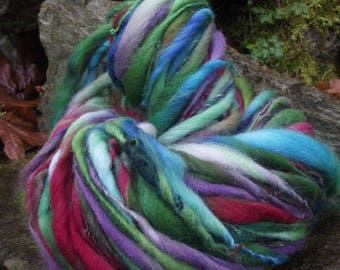 Handspun art yarn, super bulky handpainted hand dyed Polwarth wool yarn thick and thin-Emerald Fae