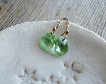 Pale Green Crystal Earrings Gold Filled Hooks Petite Peridote August Birthday Earrings Small Briolettes Minimalist Modern Jewelry