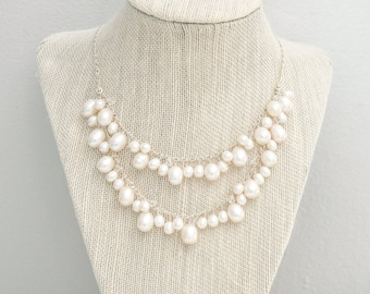 Freshwater Pearl Necklace, Pearl Wedding Necklace, Bridal Necklace, Sterling Silver Necklace