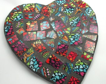 Mosaic Heart Wall Decor - Mosaic Art Home Decor Bright Colors Hearts  Mosaic Tile Heart Indoor Mosaic Wall Decor - Unique Housewarming Gift