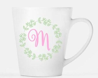 Monogram and Wreath Ceramic Latte Mug, 12 oz