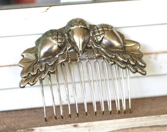 ACORN Vintage Upcycled Silver Leaf Hair Accessory Hair Comb Bridal Wedding