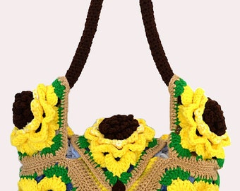 Crochet Sunflower Hobo Bag Pattern PDF