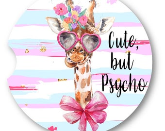 Giraffe Car Coaster • Cute but Psycho • Drink Coaster • Funny Coasters • Car Accessories • Funny Giraffe • Cute Giraffe • Car Cup Holder