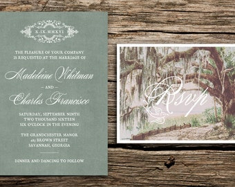 Live Oaks Wedding Invitation Set // Savannah Wedding Invitation Vintage Floriada Wedding Invites Green Soft Brown Live Oak Trees Moss